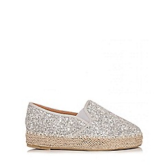 Quiz - Silver Glitter Hessian Skater Trainers