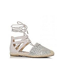 Quiz - Silver Glitter Hessian Ankle Tie Sandals