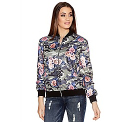 Quiz - Multicoloured Camouflage Flower Print Bomber Jacket