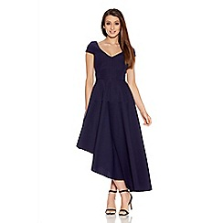 Quiz - Navy Ribbed V Neck Asymmetrical Dress