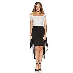 Quiz - Cream And Black Lace Bardot Dip Hem Dress