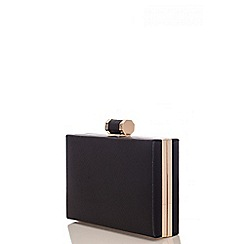 Quiz - Black Gold Plate Box Bag
