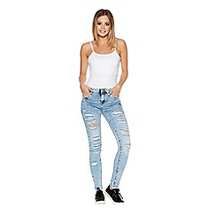 Quiz - Light Blue Denim Ripped Front Skinny Jeans