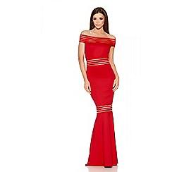 Quiz - Red Sheer Panel Bardot Fishtail Maxi Dress