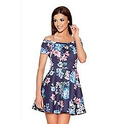 Quiz - Navy And Pink Floral Bardot Skater Dress
