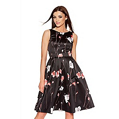 Quiz - Black And Red Satin Flower Print Dress