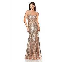 Quiz - Gold Sequin Strapless Maxi Dress