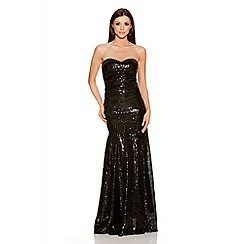 Quiz - Black Sequin Strapless Maxi Dress
