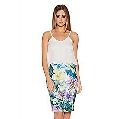 Quiz - Multicoloured Tropical Print Chiffon Top Dress
