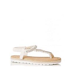 Quiz - White Diamante Curve Strap Flat Sandals