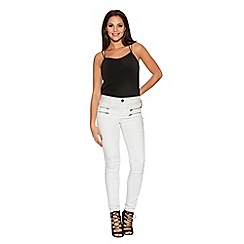 Quiz - White Denim Zip Pocket Skinny Jeans