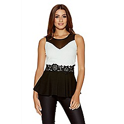 Quiz - Black And Cream Peplum Lace Trim Top