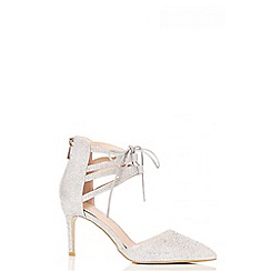 Quiz - Silver Diamante Ankle Tie Heel Sandals