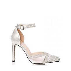 Quiz - Silver Mesh Diamante Ankle Strap Shoes
