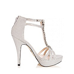 Quiz - Silver Shimmer Jewel T-Bar Heel Sandals