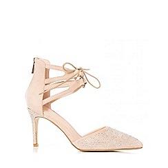 Quiz - Nude Diamante Ankle Tie Heel Sandals
