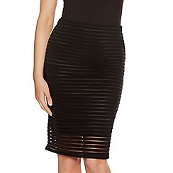 Quiz - Black Mesh Lined Skirt