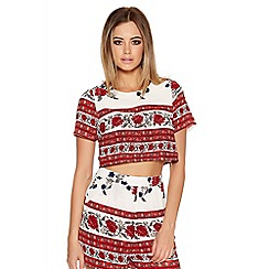 Quiz - Cream And Red Flower Paisley Crop Top