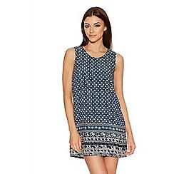 Quiz - Blue And Cream Tile Print Tunic Dress