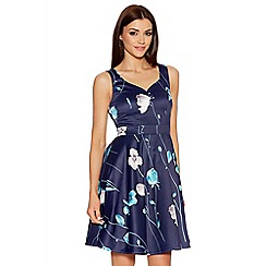 Quiz - Navy And Aqua Satin Flower Print Dress