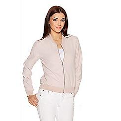 Quiz - Pink Silver Zip Bomber Jacket