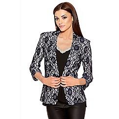 Quiz - Navy And White Lace Blazer Jacket