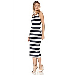 Quiz - Navy And White Stripe Lace Back Midi Dress
