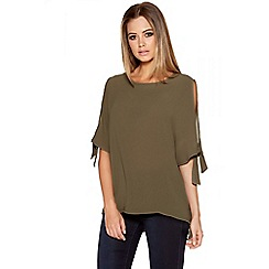 Quiz - Khaki Crepe Cold Shoulder 3/4 Sleeve Top
