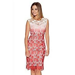 Quiz - Coral And Cream Crochet Dip Dye Midi Dress