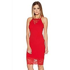 Quiz - Red Crepe Lace Trim Midi Dress