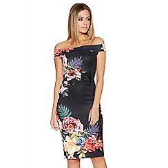 Quiz - Black Floral Print Bardot Bow Dress