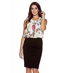 Quiz - Cream Chiffon Flower Print Bubble Top Dress