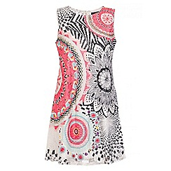 Quiz - White And Pink Abstract Print Tunic Dress