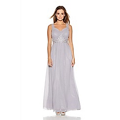 Quiz - Grey Chiffon Jewel Embellished Maxi Dress
