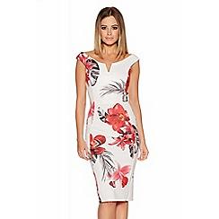 Quiz - Cream And Red Flower Print Bardot Midi Dress