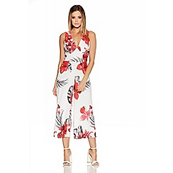 Quiz - Cream And Red Floral Culotte Jumpsuit