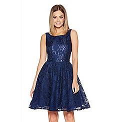 Quiz - Navy Lace High Neck Skater Dress