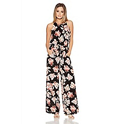 Quiz - Black And Wine Crepe Rose Print Palazzo Jumpsuit