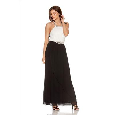 Quiz Cream Contrast Chiffon Diamante Neck Maxi Dress