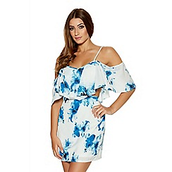 Quiz - White And Blue Crepe Floral Cut Out Dress