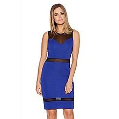 Quiz - Royal Blue Mesh Sweetheart Panel Dress
