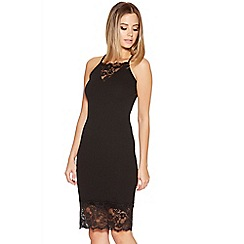 Quiz - Black Crepe Lace Trim Midi Dress