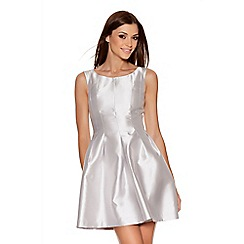 Quiz - Silver Satin High Neck Skater Dress