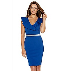 Quiz - Royal Blue Frill Diamante Bodycon Dress