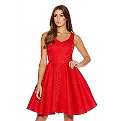 Quiz - Red Jacquard Sweetheart Skater Dress