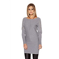 Quiz - Grey Light Knit Batwing Diamante Sleeve Jumper Dress