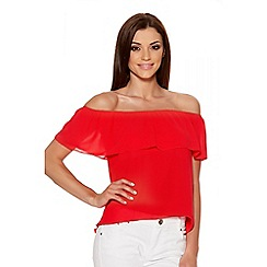 Quiz - Red Chiffon Bardot Dip Hem Top