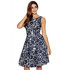 Quiz - Navy And White Lace Skater Dress