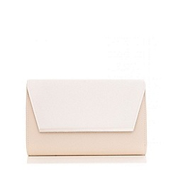 Quiz - White And Nude Large Clutch Bag