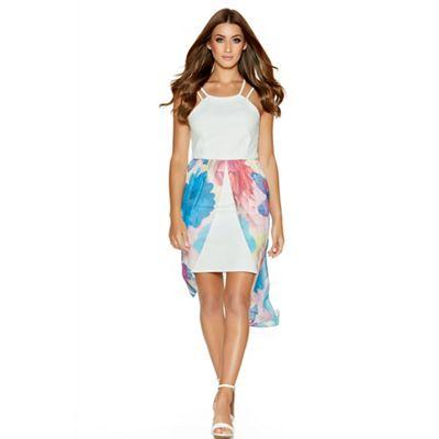 Quiz Cream And Pink Textured Chiffon Dip Hem Dress